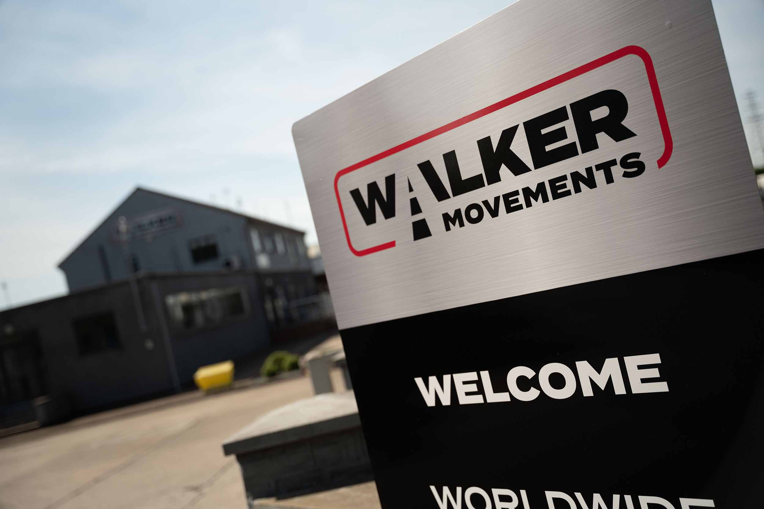 the entrance of walker movements with a welcome sign
